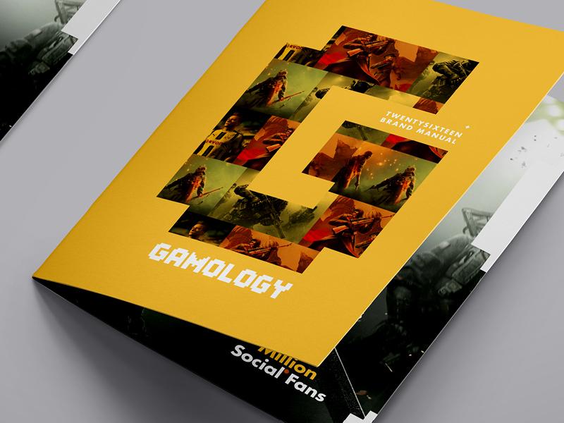 Gamology - The Best of Gaming brochure logo gaming videogames yellow branding type identity