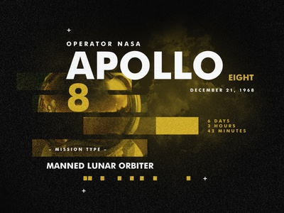Apollo 8 spacetravel layout gold design apollo type space
