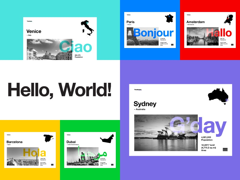 Hello, World! color branding web ui ux layout photography mono type photo travel