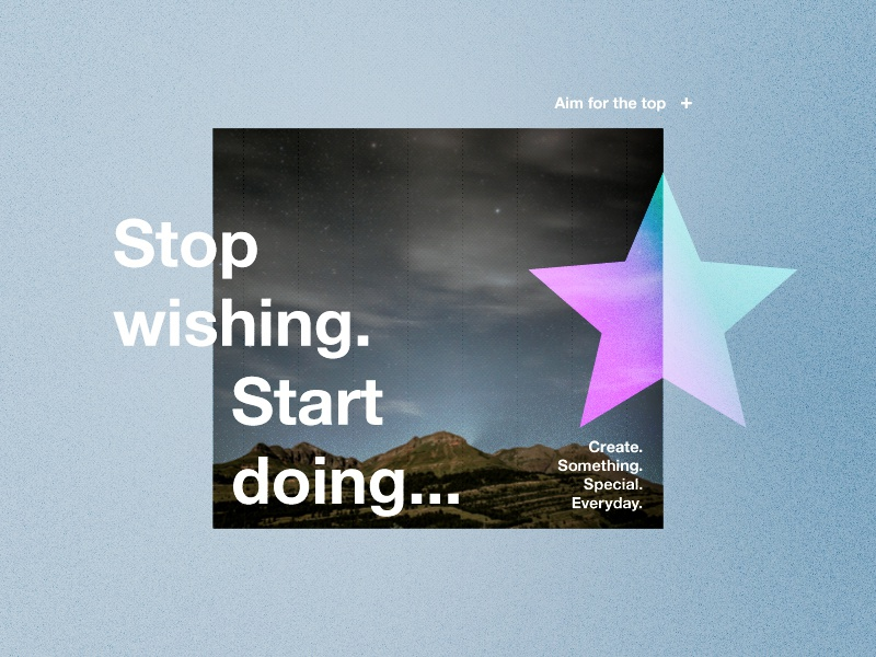 Stop wishing. Start doing. star positive quote style branding vector colours logo photography success mountain