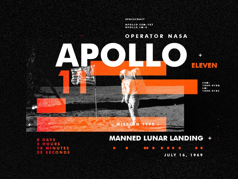 Apollo 11 spacetravel layout texture design apollo type space nasa