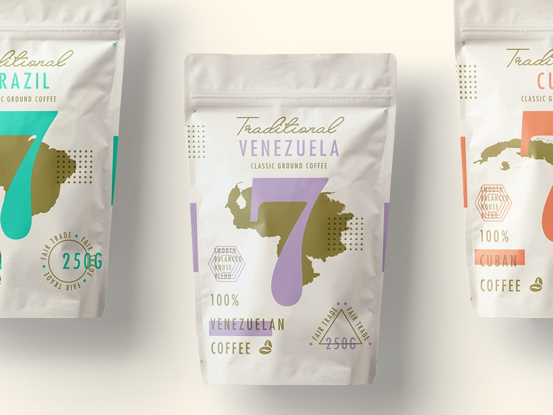 Traditional 7 Coffee   Featured!  coffee type packaging website ui texture branding logo layout