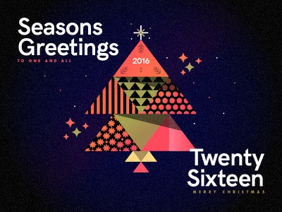 Seasons Greetings - Twenty Sixteen thankyou christmas xmas vector stroke line pattern type gold