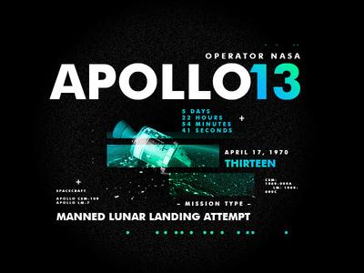 Apollo 13 spacetravel layout texture design apollo type space nasa