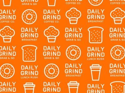 Daily Grind Pattern orange pattern usa new york icons icon coffee