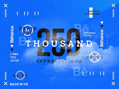 – 250K – typography thankyou behance blue ticket shots followers freelance
