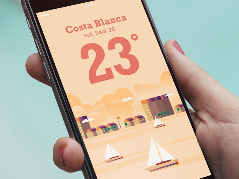 Costa Blanca boat holiday summer weather app illustration