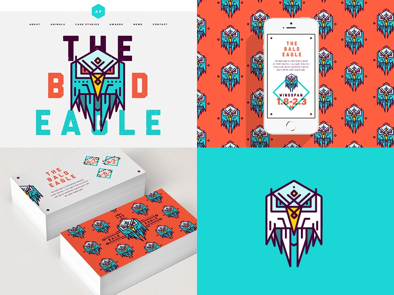 BALD EAGLE | Brand Work animals colour web design navigation icons menu illustration website clean layout ui flat
