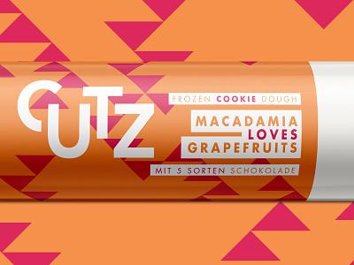 CUTZ   Macadamia loves Grapefruits packaging branding illustration dough cookie chocolate