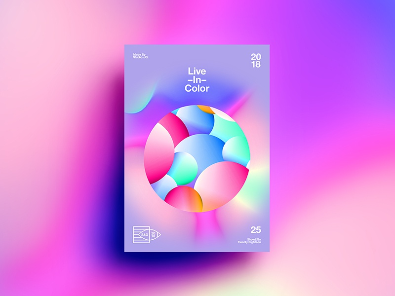 👁Show & Go👁 025 | Live In Color abstract branding tutorial design typography swiss 3d 2018 poster color