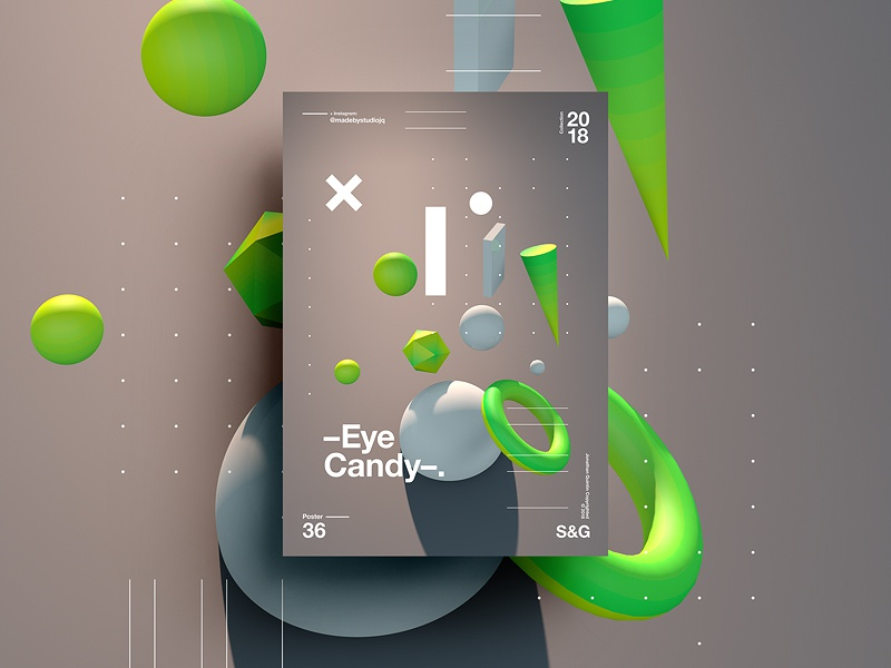 👁Show & Go👁 036 | Eye Candy. c4d branding tutorial design typography swiss 3d 2018 poster color