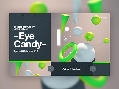 Eye Candy color ui 2018 3d web typography design tutorial branding c4d