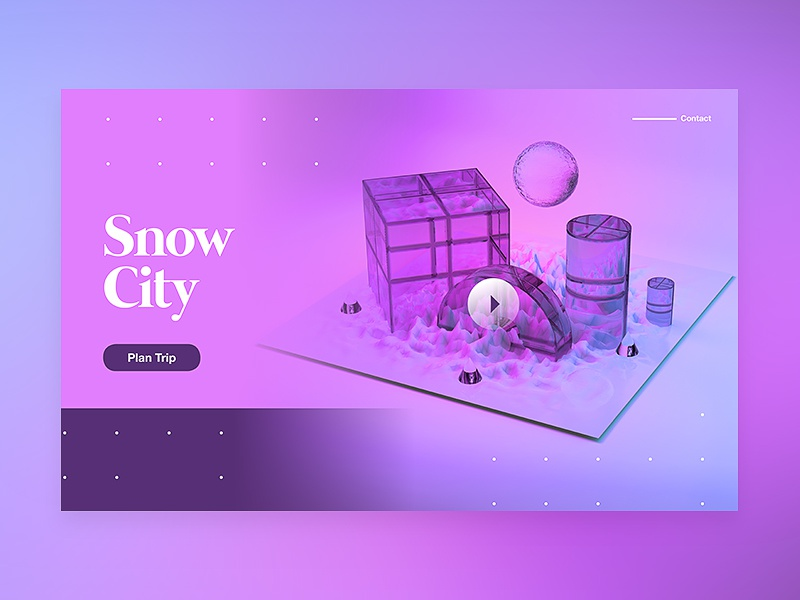 Snow City color ui 2018 3d web typography design tutorial branding c4d