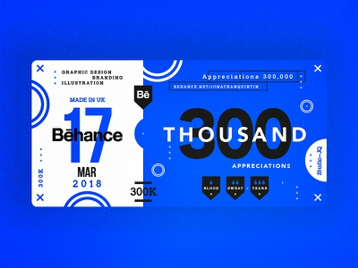 300K 60k type c4d behance blue thankyou ticket dribbble quintin studiojq
