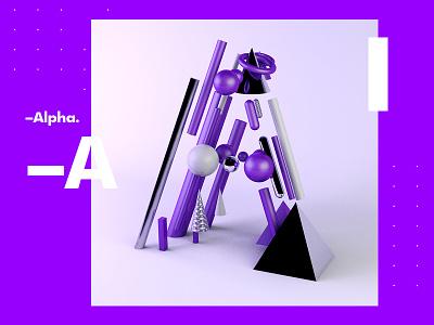 –Alpha. c4d tutorial design typography fantasy 3d 2018 alphabet color