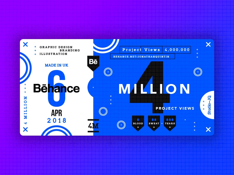 4 Million studiojq quintin dribbble ticket thankyou blue behance c4d type 4million