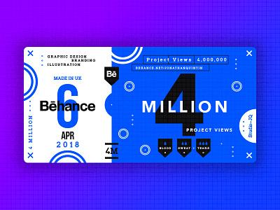 4 Million studiojq quintin dribbble ticket thankyou blue behance c4d type 4million