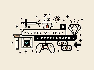 Curse Of The Freelancer | Hero Image studio designer illustration type freelancing branding freelance logo