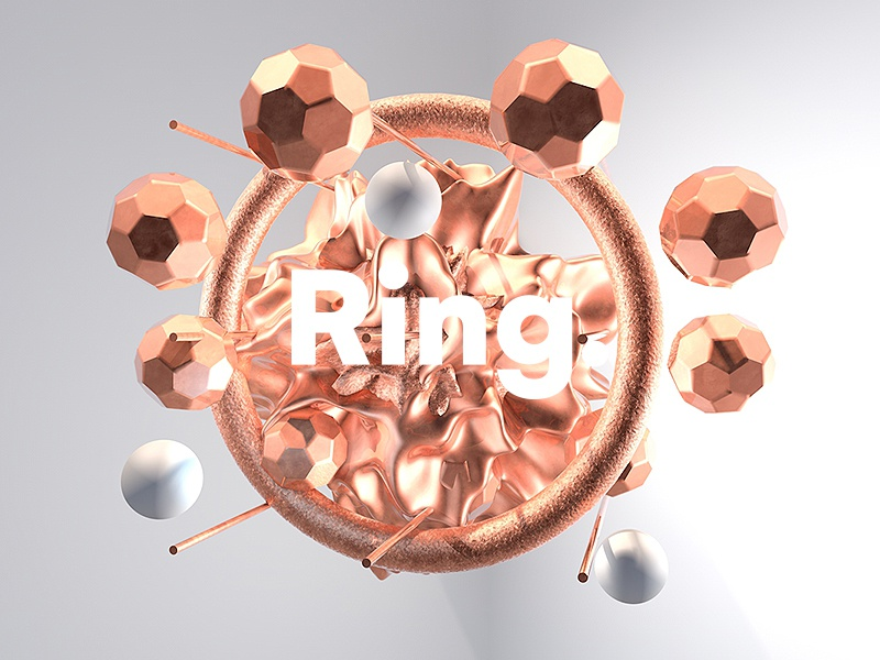 Ring. color gold 2018 3d fantasy typography design tutorial fashion c4d