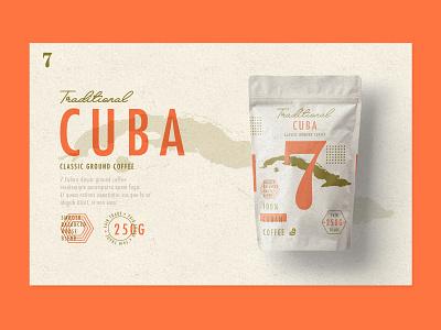 Traditional 7 Coffee | Cuba ux uidesign ui coffee packaging design type cuba
