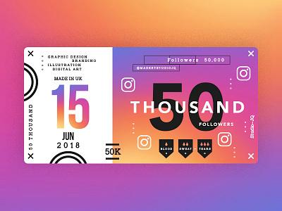 ♥ 50K Instagram Followers ♥ studiojq quintin dribbble ticket thankyou blue behance c4d type instagram