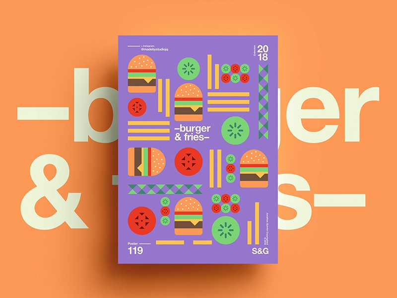 –burger&fries– swiss digitalart art tutorial design typography 2018 type color foodie abstract skillshare