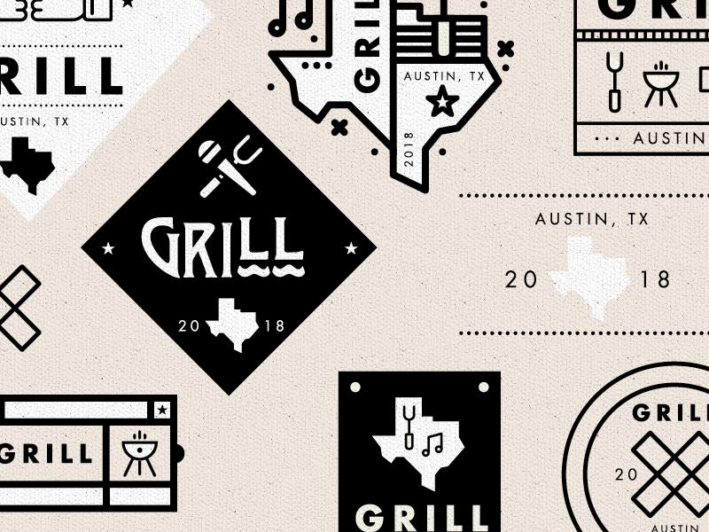 Grill Logomarks music austin illustration type texas bbq usa branding freelance logo