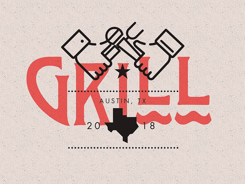 G R I L L logo freelance branding usa bbq texas type illustration austin music