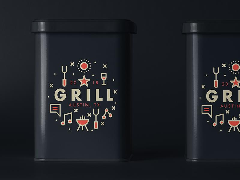 GRILL | Tin packaging logo freelance branding usa bbq texas type illustration austin music