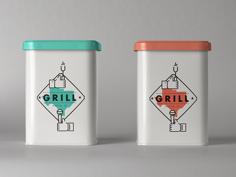 GRILL | Tin III packaging logo freelance branding usa bbq texas type illustration austin music