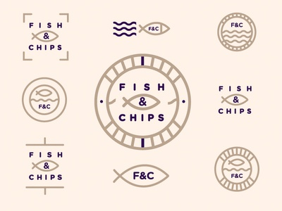Fish & Chips takeaway fishchips logomark sketch brainstorm explore illustration type branding freelance logo