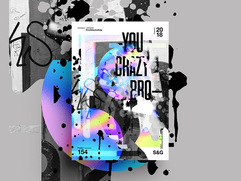 –You Crazy Bro– retro skillshare swiss gradient abstract color type 2018 typography design tutorial art