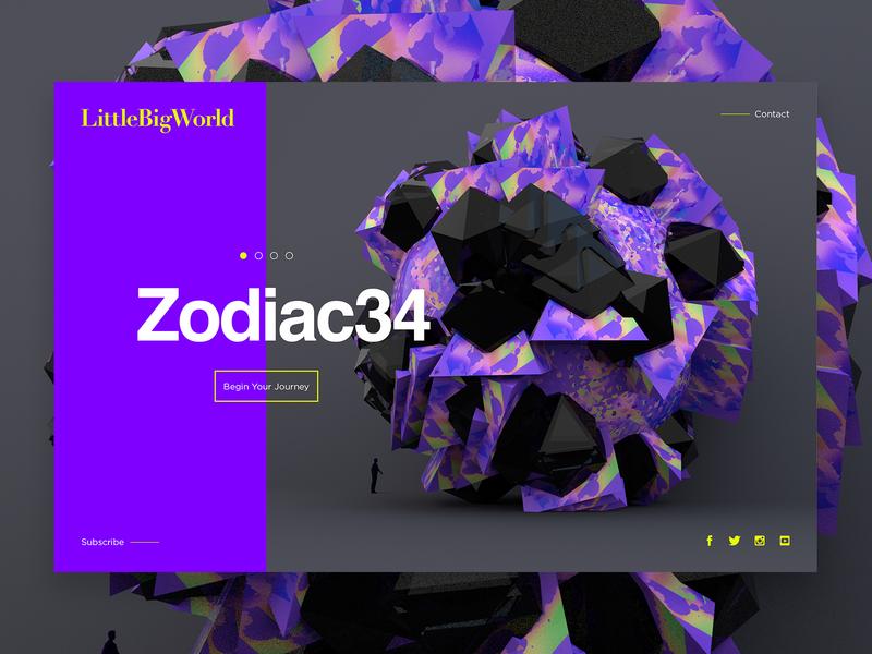LittleBigWorld   Zodiac34 landingpage ui world clean art typography octane cinema4d minimal webdesign web