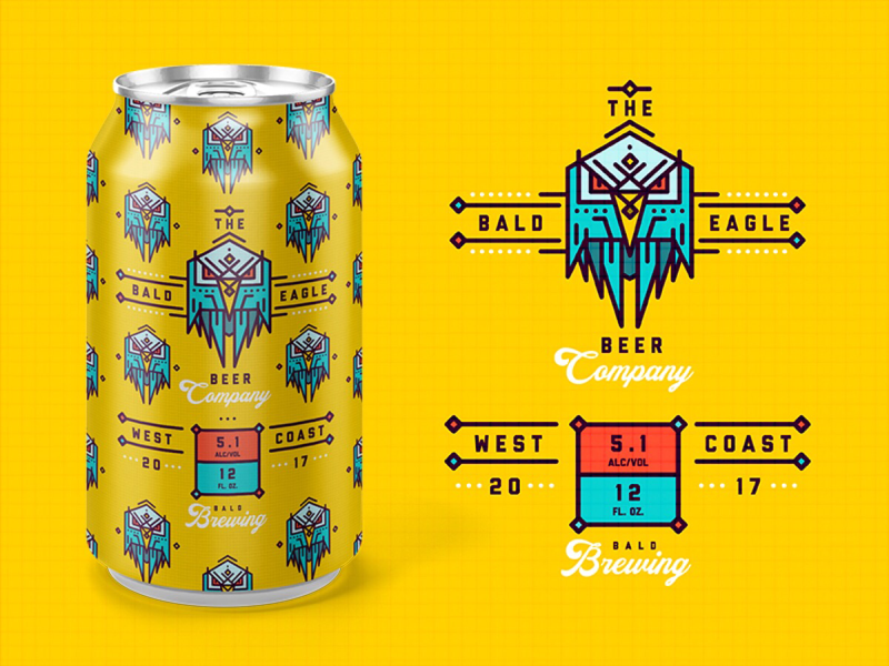 BALD EAGLE BEER Co. logo mock-up can branding 3d packaging beer can beer
