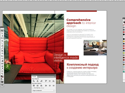Working on a brochure design for a Russian furniture company brochure design layout composition