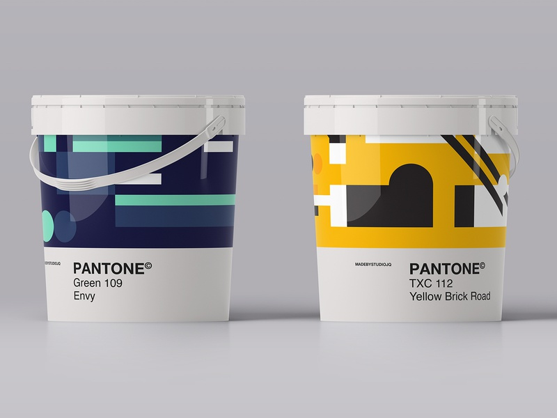 Pantone Paint shape form simple product packaging green yellow pantone pattern color