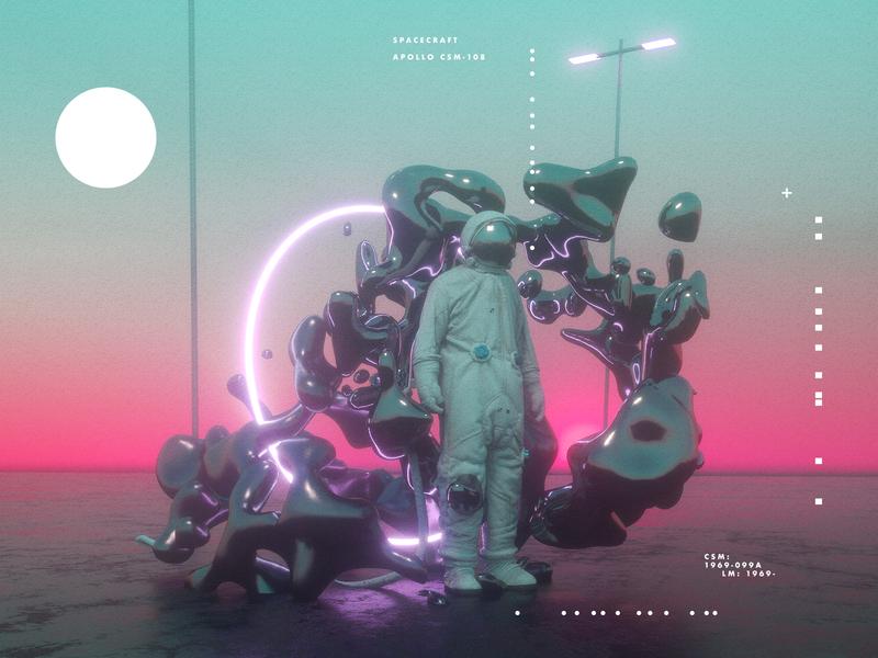 –Pink Dusk design astronaut surreal fantasy space octanerender octane c4d cinema4d