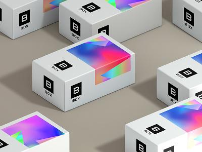 –Box typography identity logomark logo packaging gradient design type branding