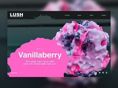 Vanillaberry | Lush Bath Bombs landingpage website wb layout type bath art cinema4d octane bathbomb branding ui