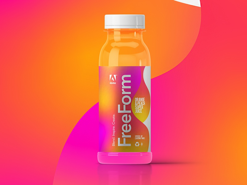 Freeform Super Juices | Made By Adobe concept illustrator packagingdesign juice packaging freeform gradient adobe