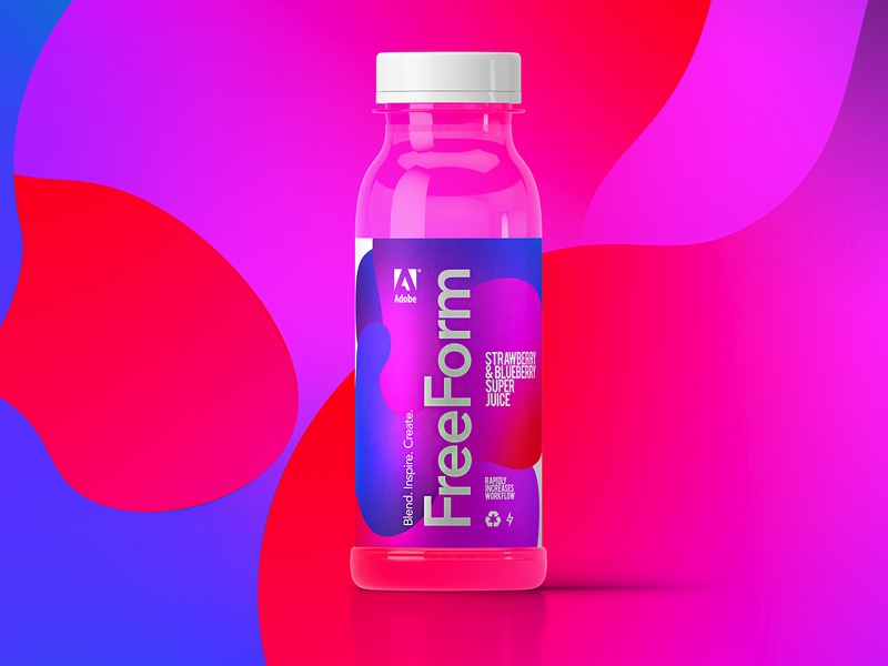 Freeform Super Juices | Made By Adobe typography branding color adobe gradient freeform packaging juice packagingdesign illustrator concept