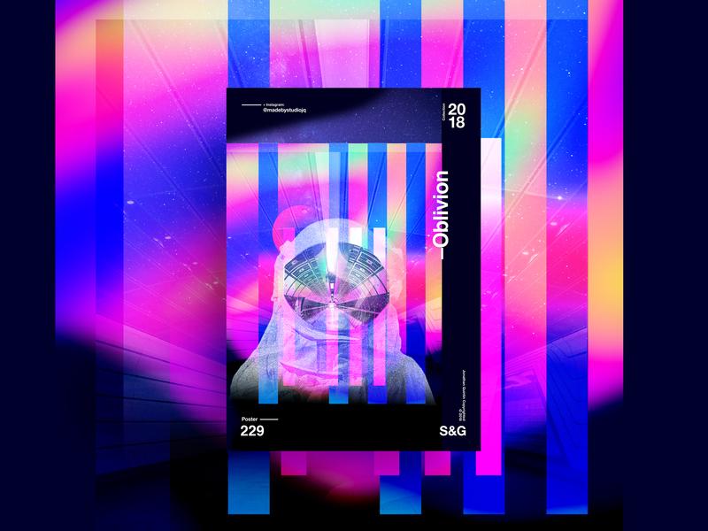 Oblivion art gradient color vector texture swiss illustration poster type typography cinema 4d octane