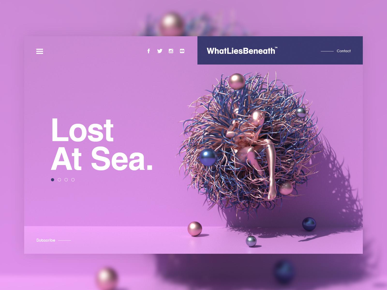 What Lies Beneath™ | Lost At Sea web landingpage ui mp4 abstract surreal fantasy scifi art octane render octanerender octane c4d cinema4d ocean