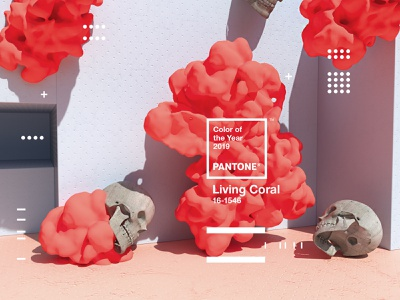 Pantone Color of the Year 2019 | Living Coral octane skull type web animation website x-particles cinema4d coy2019 livingcoral pantone design