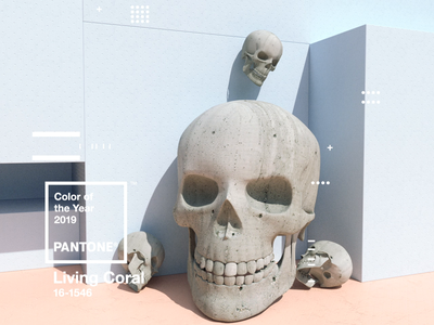 Pantone Color of the Year 2019 | Living Coral motion design pantone livingcoral coy2019 cinema4d x-particles website animation web type skull octane