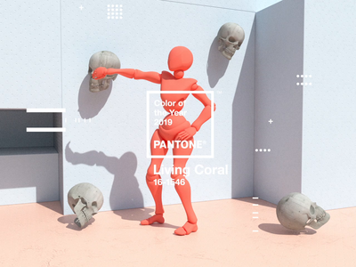Pantone Color of the Year 2019 | Living Coral octane skull type web animation website x-particles cinema4d coy2019 livingcoral pantone design motion
