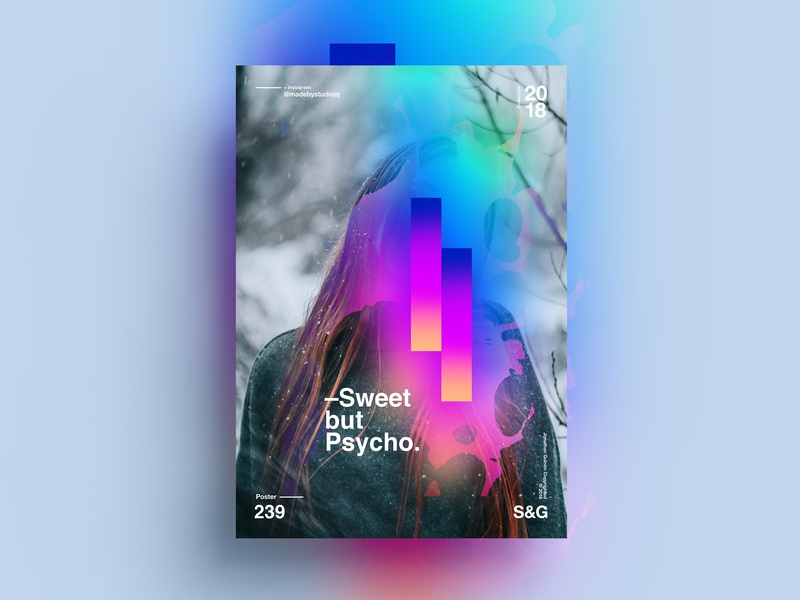 —Sweet but Psycho. girl gradient collage posterdesign retro art color vector texture swiss illustration poster type typography