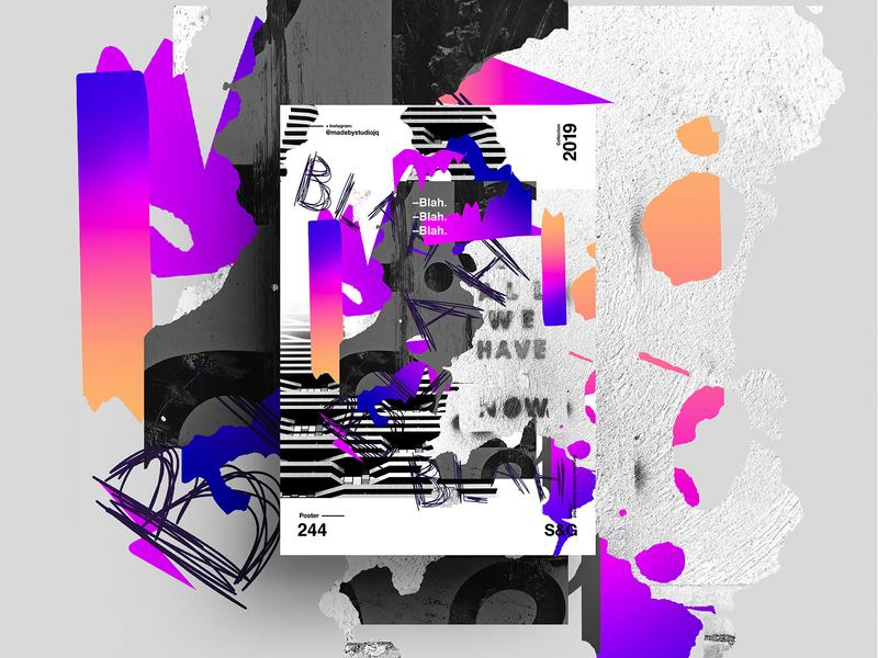 —Blah. Blah. Blah. gradient posterdesign retro art color vector texture swiss illustration poster type typography