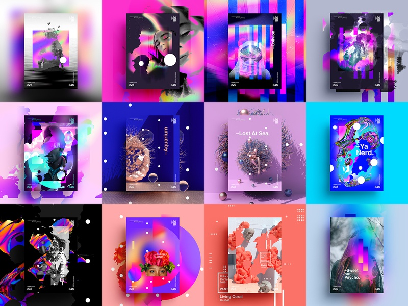 Show & Go | Month 12 Collection (2018) postereveryday art gradient color vector texture swiss illustration poster type typography cinema 4d octane