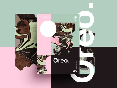 Oreo–Art chocolate oreo foodie posterdesign retro art color vector texture swiss illustration poster type typography